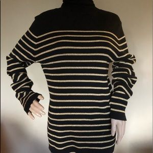 Ralph Lauren black gold knit cotton Turtleneck XL